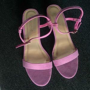 Shoedazzle pink suede heels